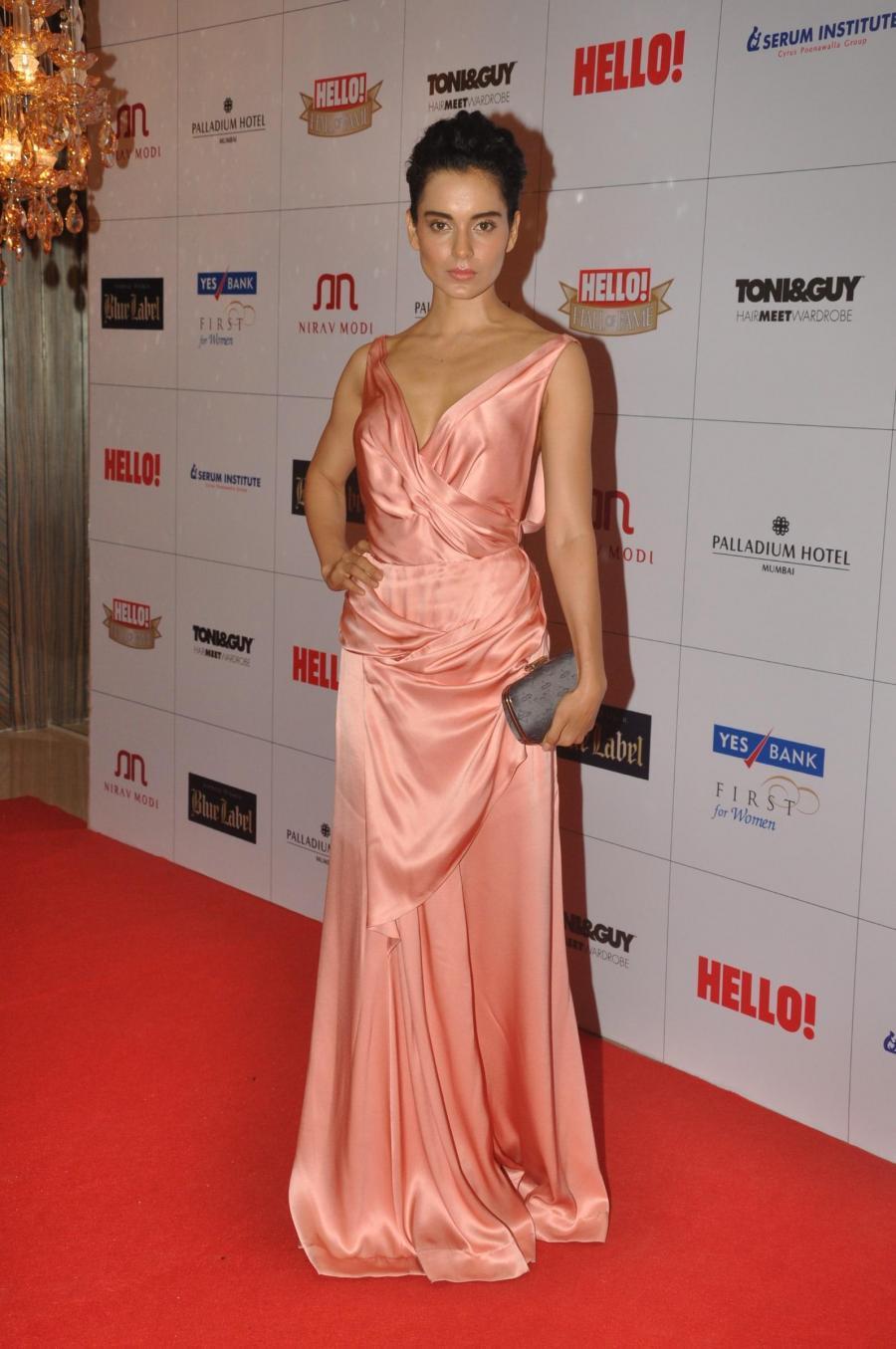 Hindi Actress Kangana Ranaut In Pink Gown At Fame Award