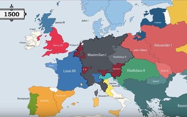 Animação mostra todos os governantes europeus desde o ano 400 a.C.