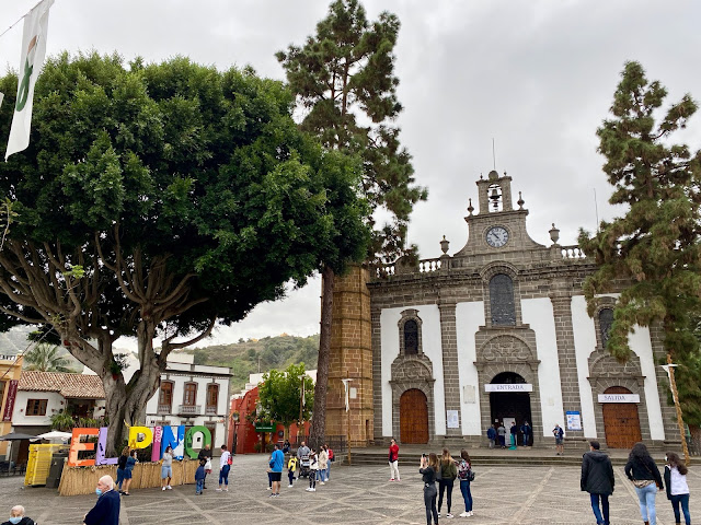 Our Lady of the Pine Church and not a pine tree in Teror, Gran Canaria, Spain