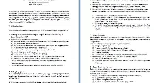 Contoh Program Kerja Tahunan Kepala Sekolah Sd Format Microsoft Word Berkas Edukasi