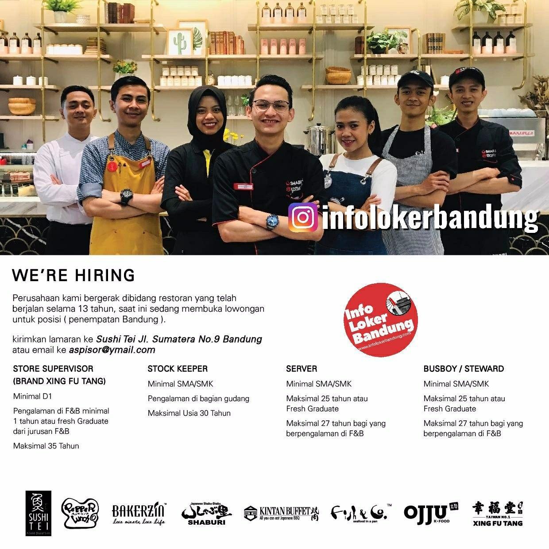 Lowongan Kerja Boga Jabar & Sushitei Bandung Januari 2020