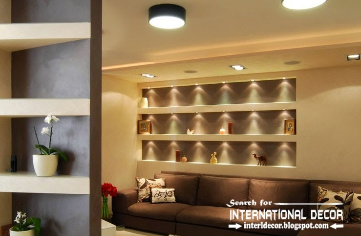 built in shelves and corner shelves of plasterboard with lighting ideas