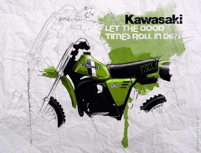 Let the Good Times Roll - Kawasaki KX80 Sketch by speedjunkies.gr