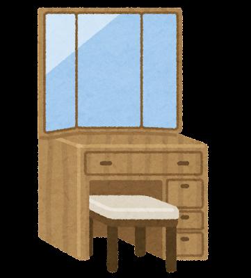 鏡台のイラスト(三面鏡)