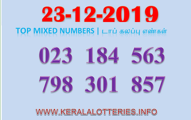 KERALA LOTTERY GUESSING MIXED NUMBER DATED 2019.12.22