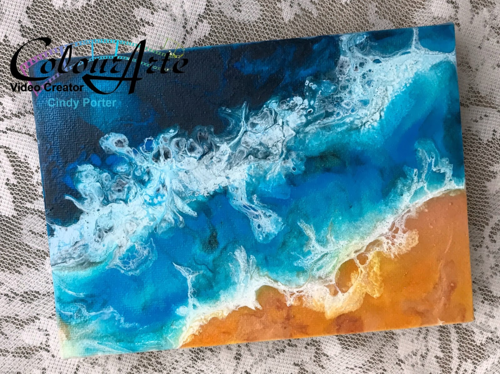 creative people don t play by the rules beach scene acrylic pour