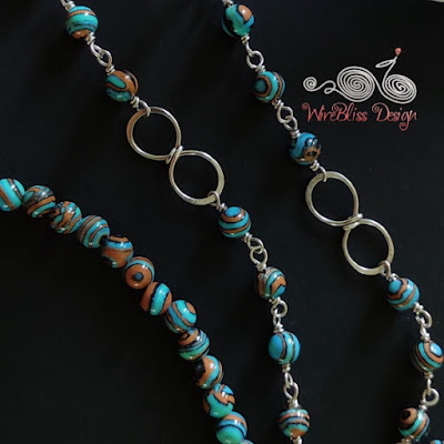 Blue Lace Malachite Face Mask Chain with Close-up of Wire Infinity Knot