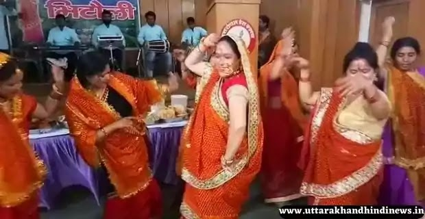 Women dance on the occasion of Bithauli tradition Festival