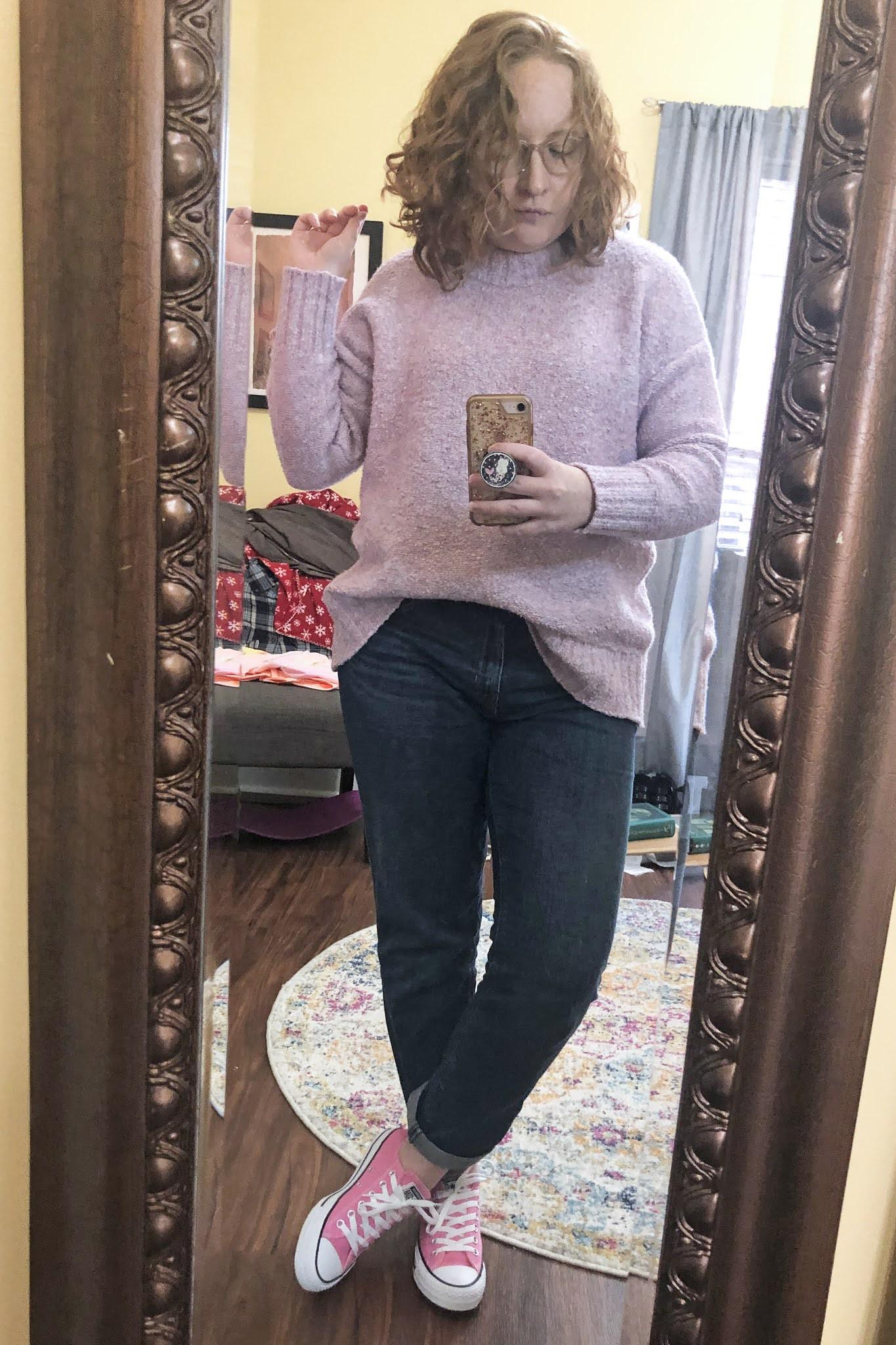lavender-sweater-pink-converse