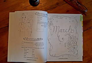 a look into a Praying Woman's Journal, using the first calendar page for March 2018. I created the word March and the flowers to colour later.