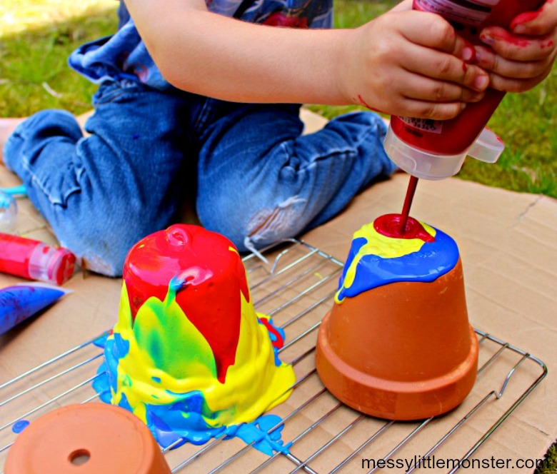 pour painting process art for kids