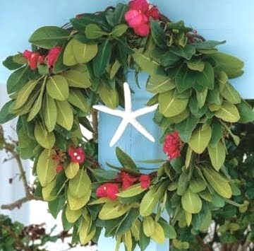 green Christmas wreath with starfish
