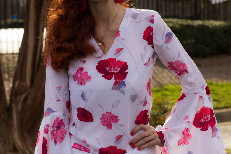 Jess Janenga in floral blouse showing a casual Valentine's Day look