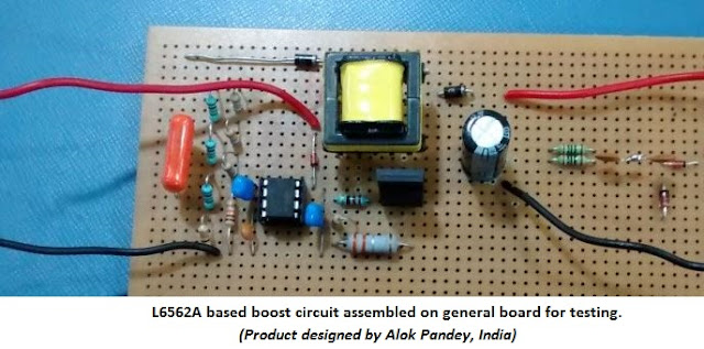 Assembled L6562A based boost circuit