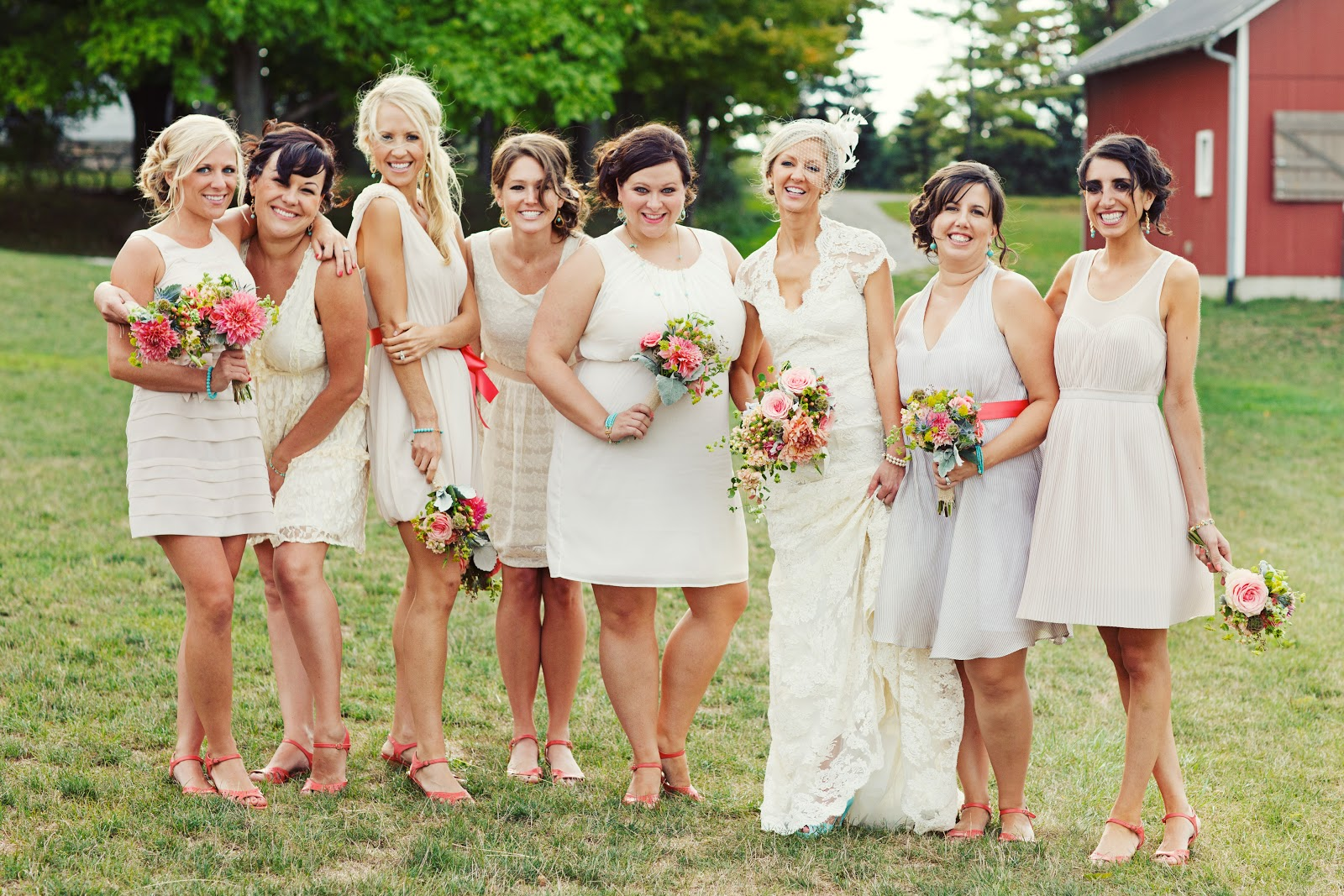 Real Bridesmaids In Beige Bridesmaid Dresses: Mismatched Bridesmaid Dresses