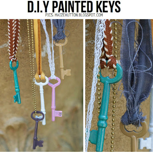 DIY painted keys from Maize Hutton upcycle jewellery trim ribbon