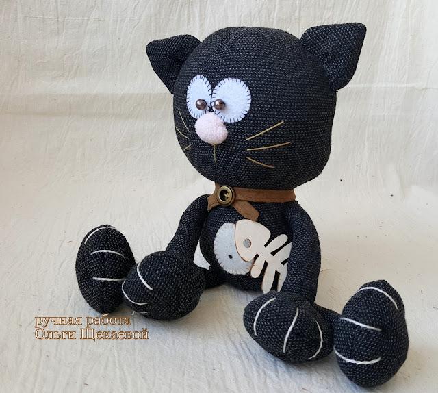 чёрный кот, игрушка, ручная работа