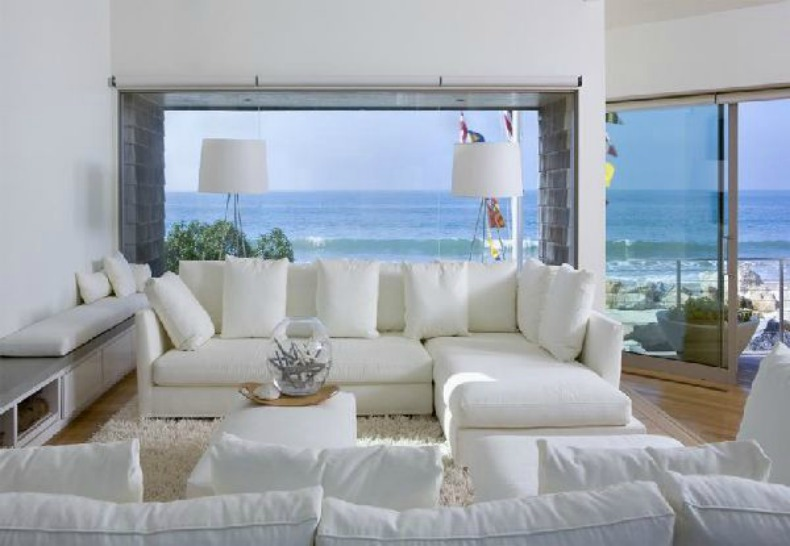 coastal living room, white slipcover modern sofas