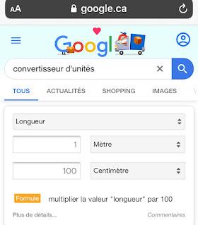 Conversion d'unités avec Google