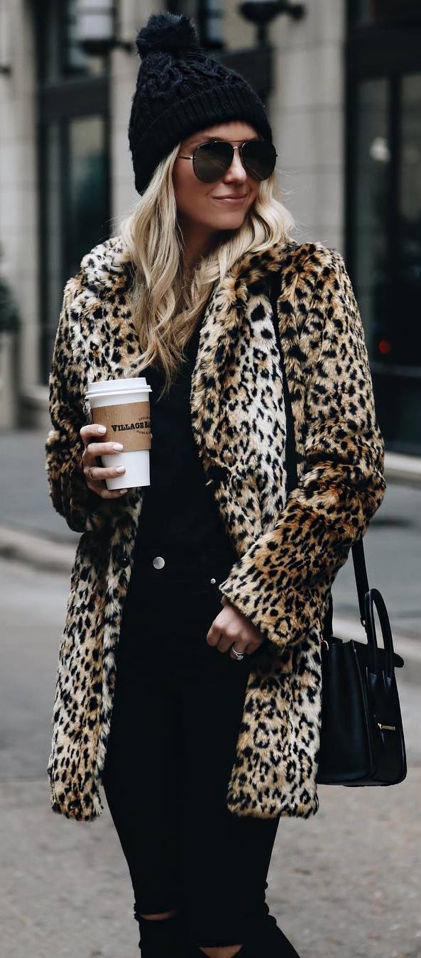 fashionable outfit / animal printed coat + hat + black jeans + bag