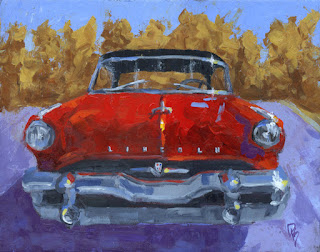 painting car classic vintage lincoln capri luxury