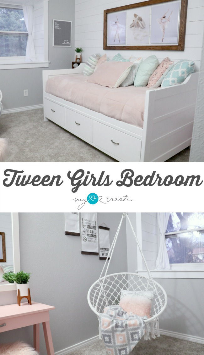 Amazing Tween Girls Bedroom reveal loaded with DIY Projects at MyLove2Create
