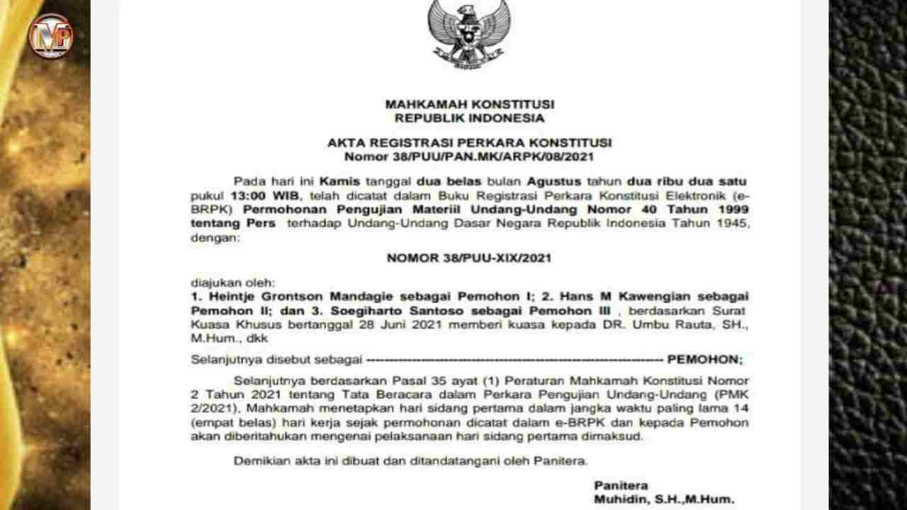 Permohonan Uji Materi UU Pers di MK Segera Disidangkan