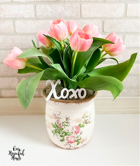 faux pink tulips painted cache pot Xoxo letters