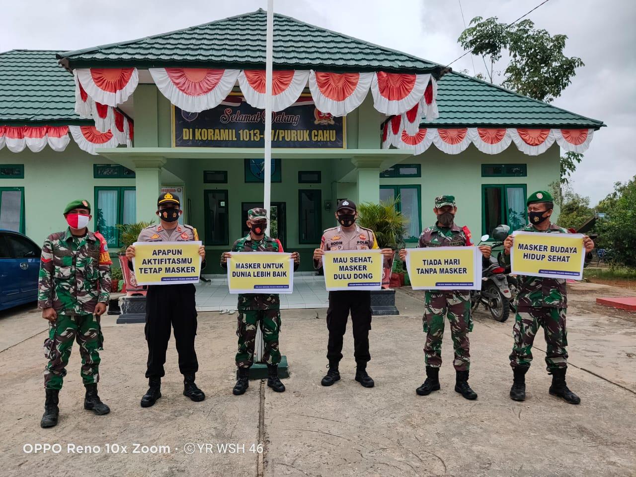 Polsek Murung Bersama TNI Sosialisasikan Wajib Pakai Masker Kapada Masyarakat