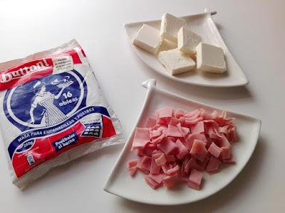 ingredientes bastoncillos de jamón y queso con obleas