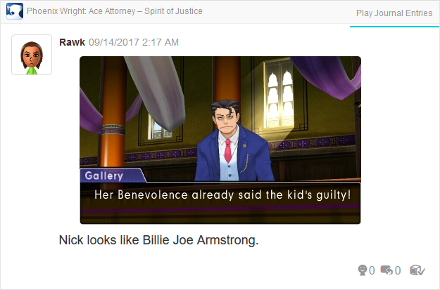 Phoenix Wright Ace Attorney Spirit of Justice Billie Joe Armstrong