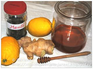 Suc de ghimbir cu miere, lămâie şi mentă