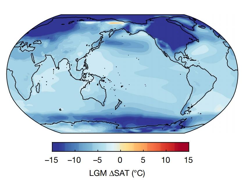 Anomalie de température en surface lors du dernier maximum glaciaire...