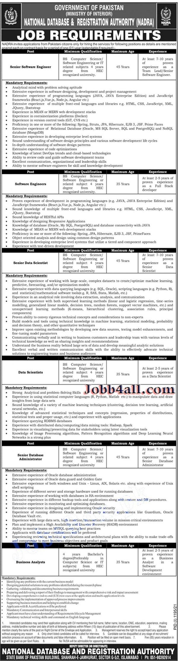 NADRA Jobs 2021 Advertisement govt Jobs in Pakistan