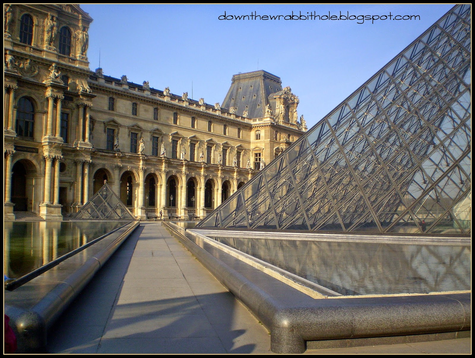 outside Louvre Museum, Louvre Museum pyramids, courtyard Paris France