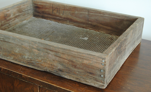 antique wood and chicken wire box