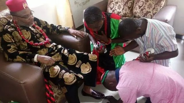 No he is not jesus its our traditional way of greeting a crowned nnamdi kanu m4hsunfo