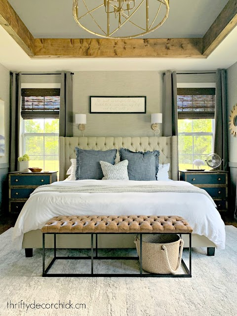 master with gray walls blue white accents