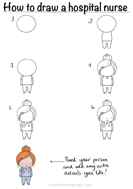 How to draw a nurse. Easy beginners drawing tutorial