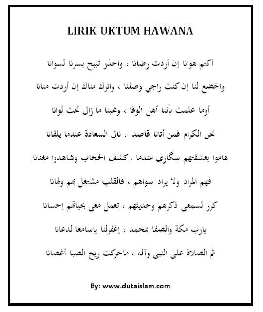 lirik uktum hawane ditulis latin arab dan artinya