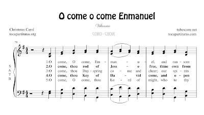 O come o come Enmanuel Partitura de CORO SATB a 4 voces Letra en inglés