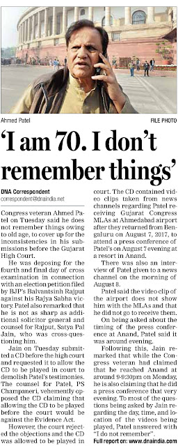 'I am 70. I don't remember things - Ahmed Patel' | Patel also remarked that he is not as sharp as Additional Solicitor General & counsel for Rajput, Satya Pal Jain, who was cross-questioning him.