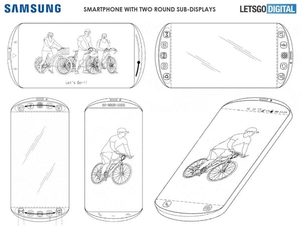 Samsung patented a three-screen phone and a circular design