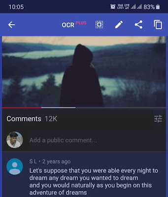 Copy text from comments on YouTube app