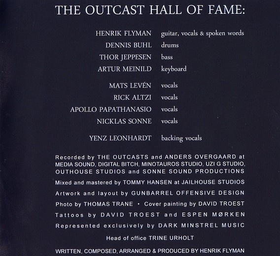 EVIL MASQUERADE - The Outcast Hall Of Fame (2016) booklet