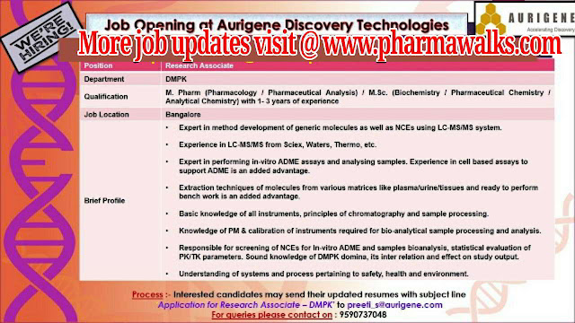 Aurigene Discovery technologies Multiple Job Openings in QC / DQA / DMPK / Cell /Molecular Biology apply now