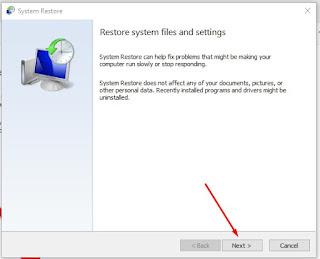 Klik Next Di kotak Restore system files and settings