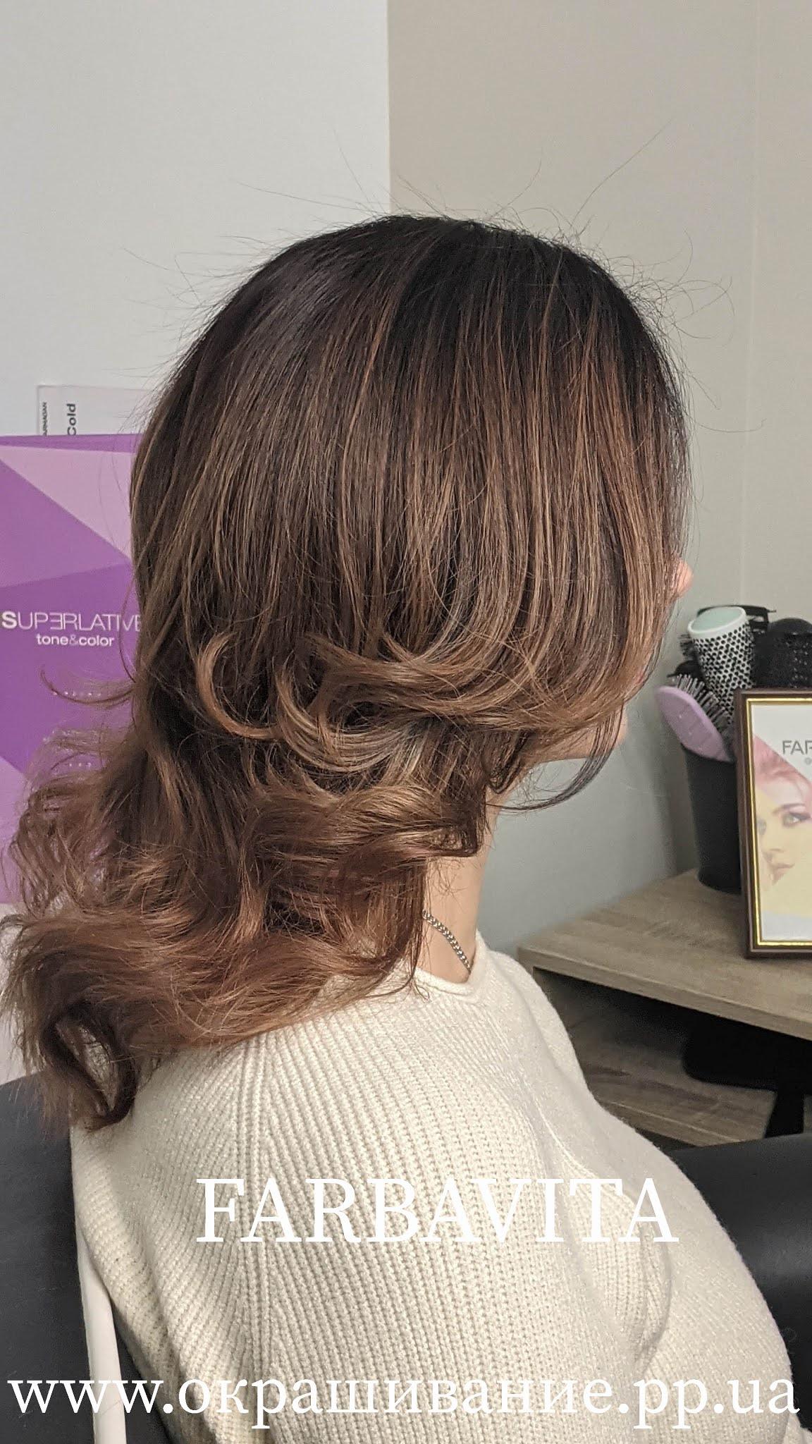 Рельефное окрашивание на средние волосы