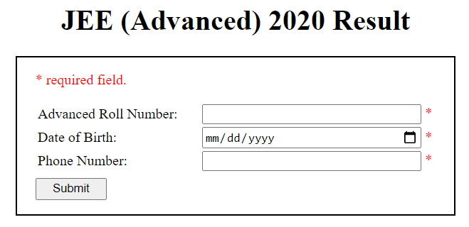 JEE Advanced Result 2020 Declared at result.jeeadv.ac.in