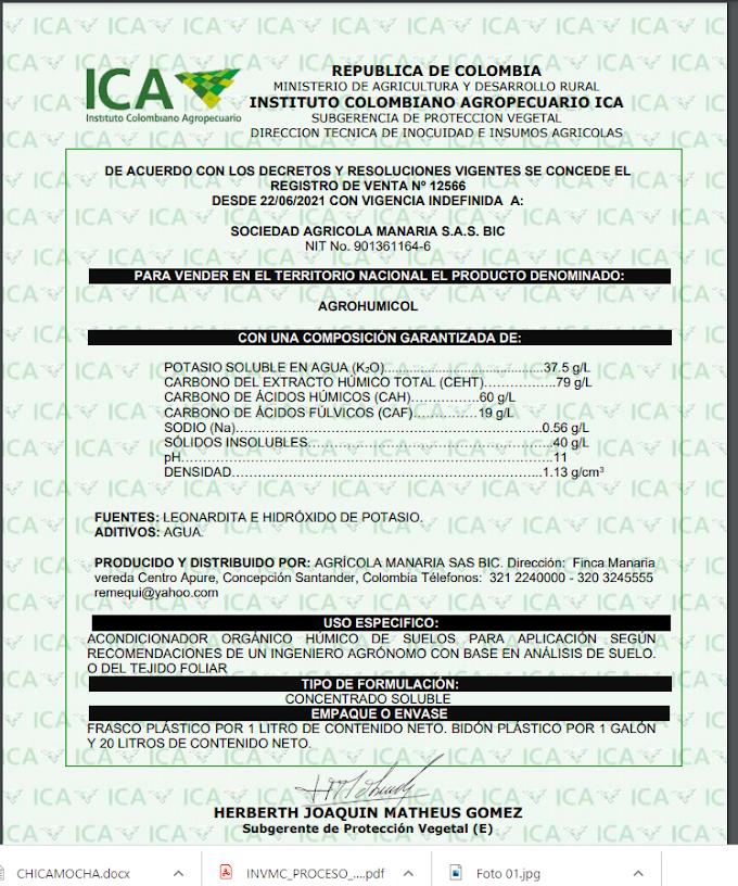 Mediante Actos Administrativos, el ICA emitió Registros de Producción y Venta a AGROHUMICOL